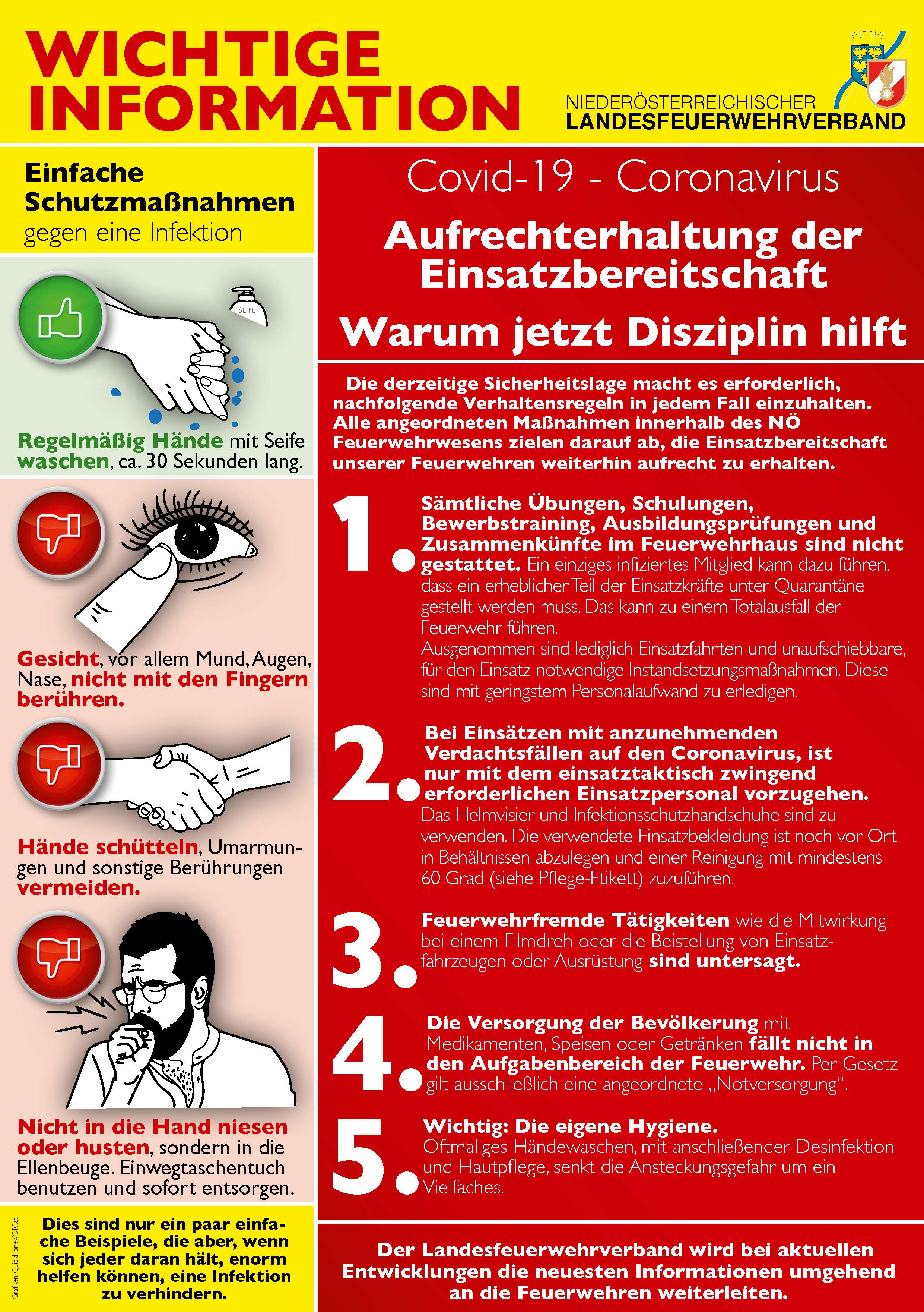 CORONA -Wichtige Infos des NÖ Landesfeuerwehrverbandes!